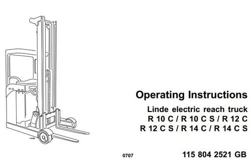 Linde Electric Reach Truck Type 115: R10C, R10CS, R12C