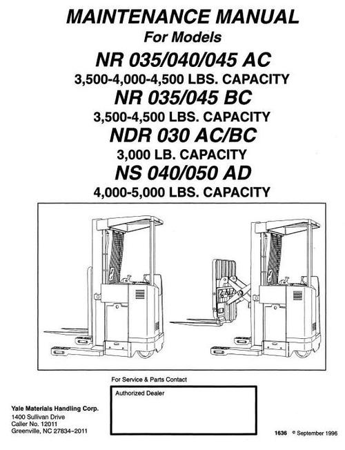 Yale Electric Reach Truck: NDR030AC/BC, NR035/040/045AC