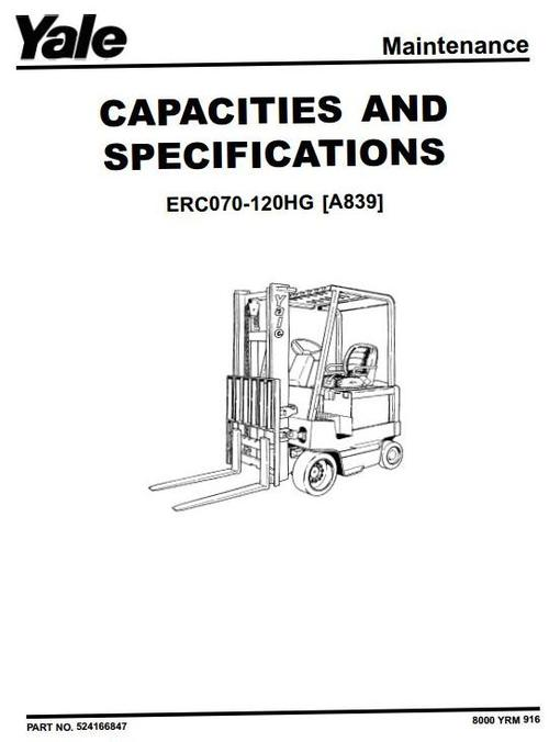 Yale Electric Forklift Truck Type A839: ERC070HG, ERC080HG
