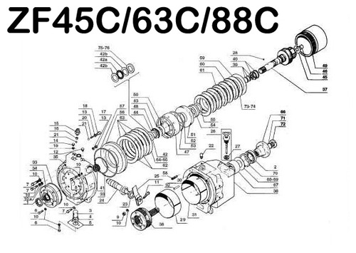 ZF 45C 63C 88C MARINE TRANSMISSION REPAIR & PARTS MANUAL