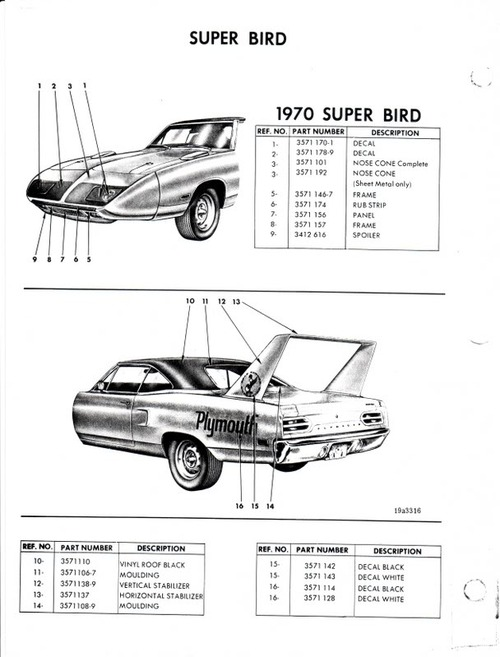 CHRYSLER PLYMOUTH 1970 SUPERBIRD PARTS CATALOGUE