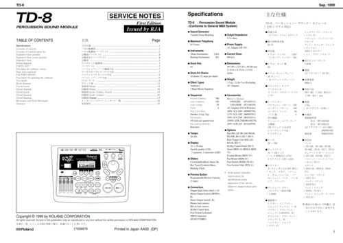 Roland td8 td-8 td percussion complete service manual