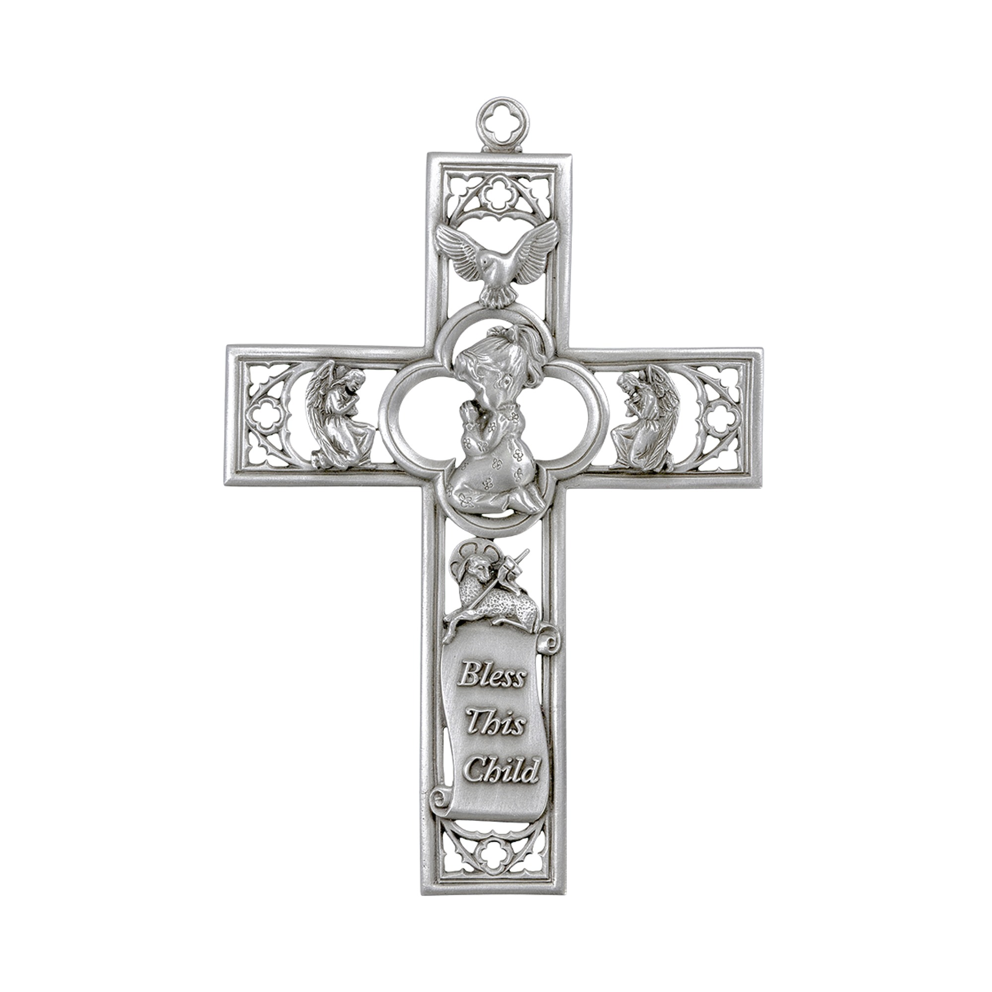 Girl S Praying Child Symbols Of Faith Pewter Cross