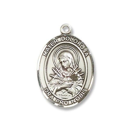 Sterling Silver Mater Dolorosa Pendant w/ Chain