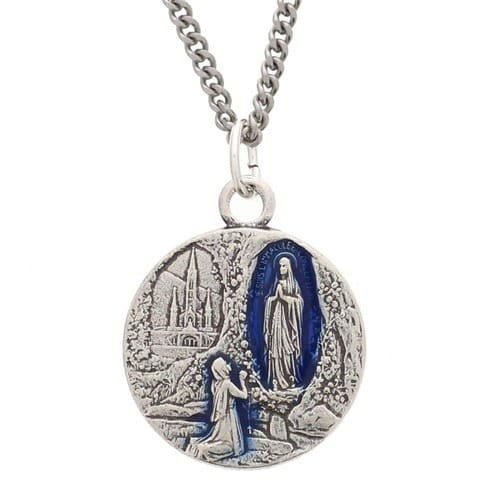 "Lourdes Water Medal with 20"" Chain"