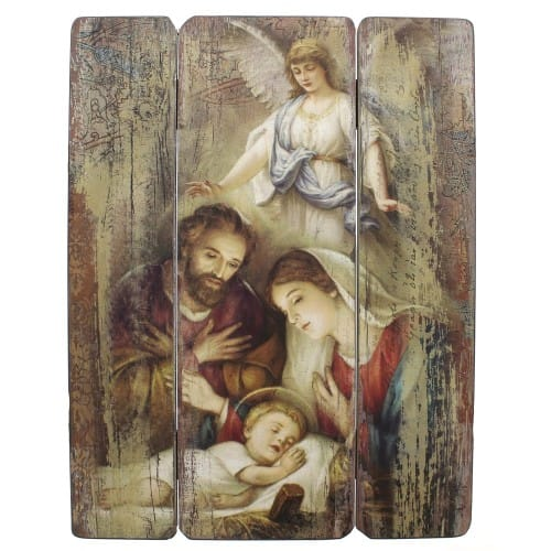 Holy Family with Angel Christmas Wall Plaque