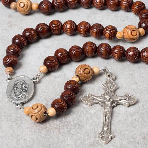 St. Joseph Wood Bead Rosary