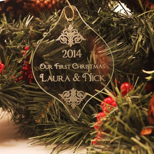 Personalized First Christmas Glass Ornament
