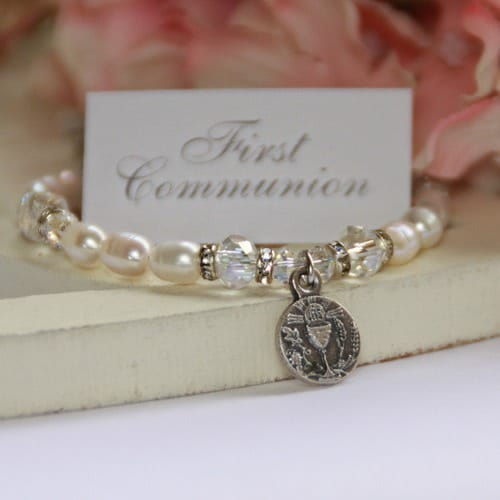 First Communion Medal Pearl Bracelet  The Catholic Company