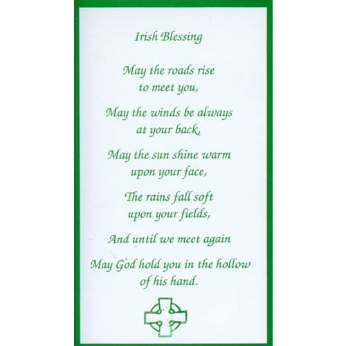 Irish Blessing Personalized Prayer Card Priced Per Card  The Catholic Company
