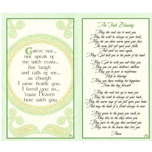 Irish Celtic Series Personalized Prayer Cards Priced Per