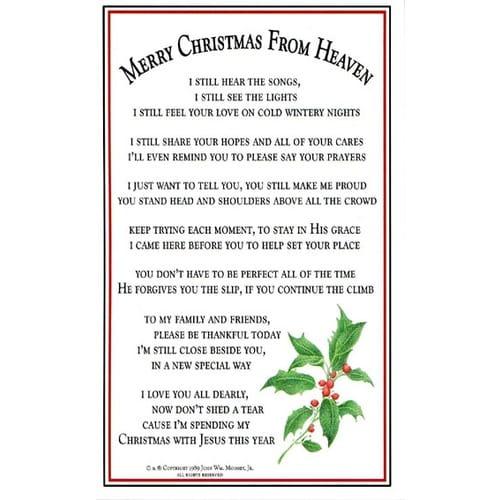 Merry Christmas from Heaven Bookmark Prayer Card Pkg of 25 The Catholic Company