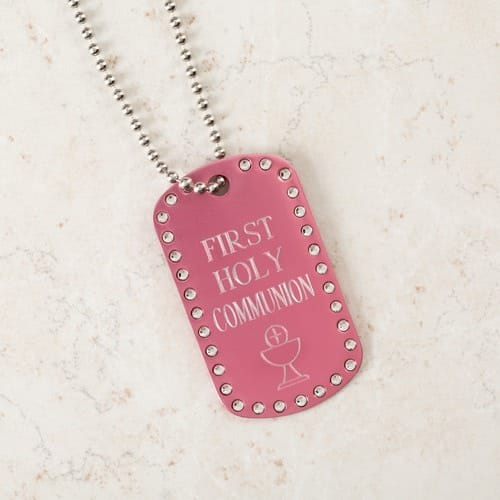 personalized first communion pink