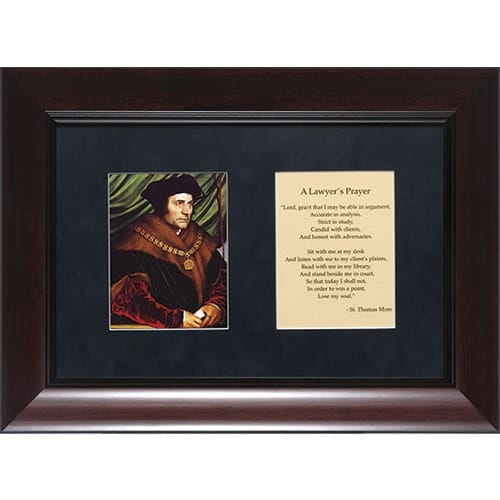 St Thomas More Matted with Lawyers Prayer in Cherry