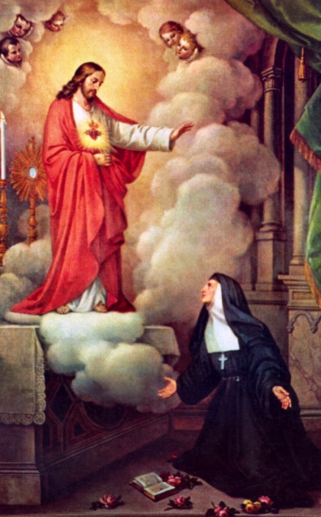 Jesus appears to St. Margaret Mary asking for devotion to his Sacred Heart