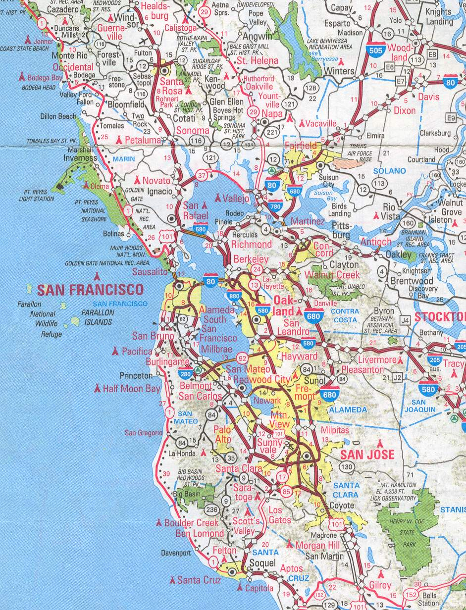 sanfrancisco bay area and california maps