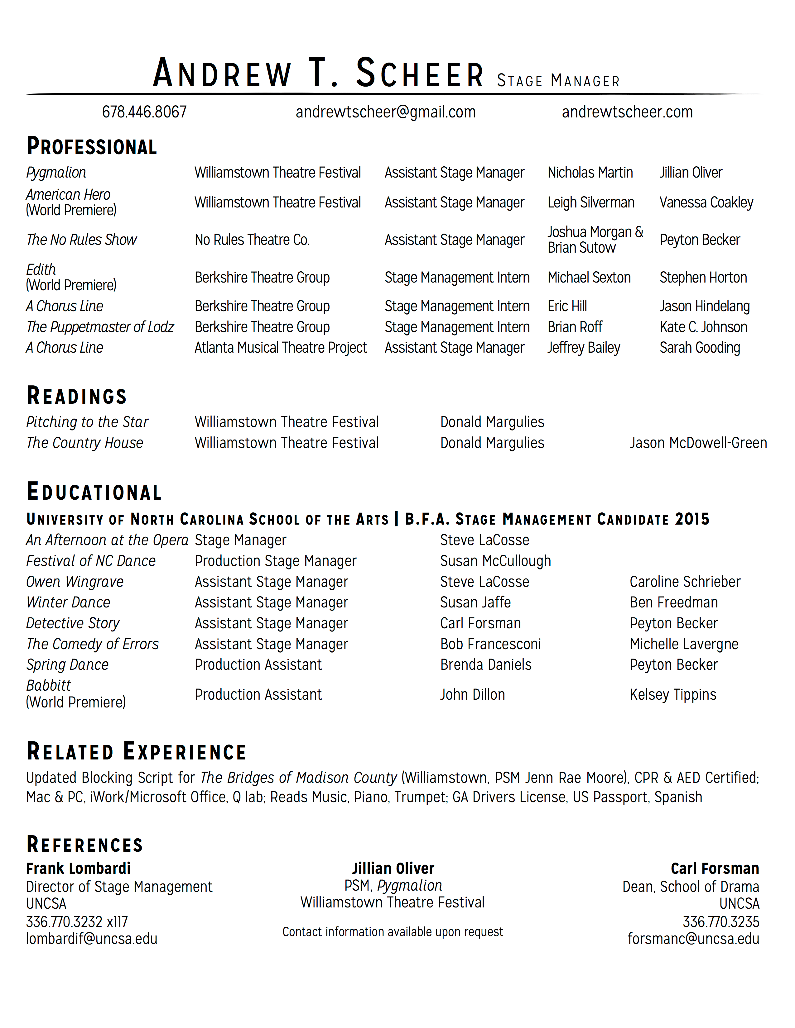 The Standard Stage Manager Resume Format