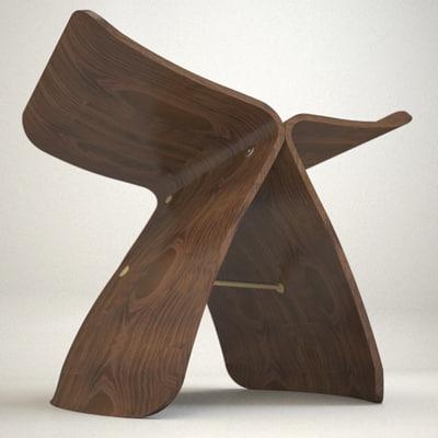 butterfly stool yanagi 3d model