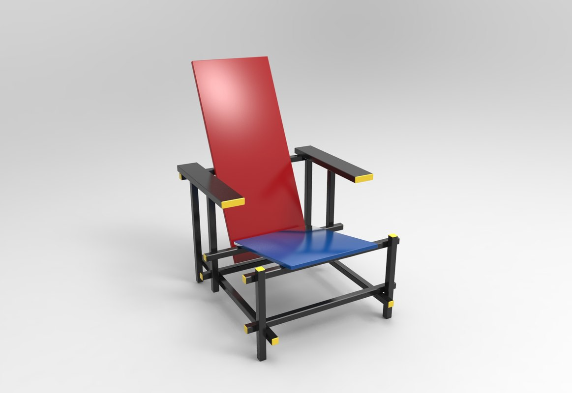red blue chair bouncy for babies reviews gerrit rietveld 3d turbosquid 1169562