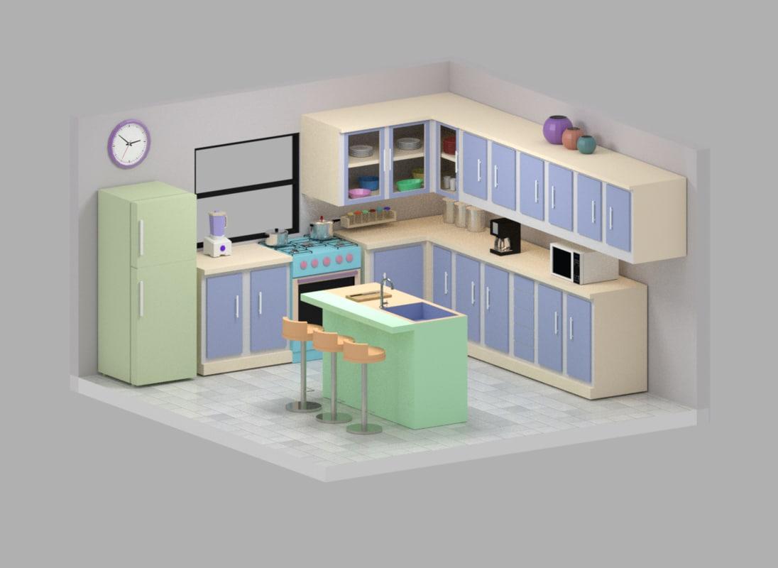 Kitchen 3d Model Free Obj