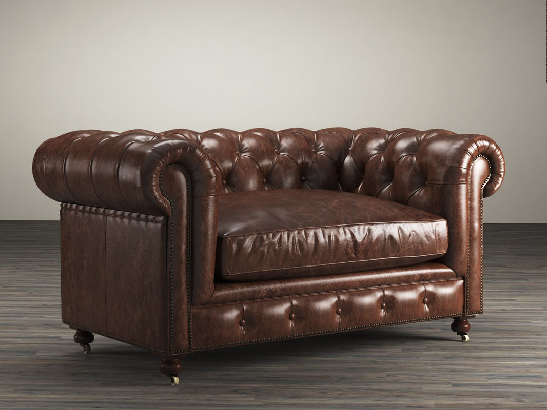 pee kensington leather sofa loxley 3d 60 model turbosquid 1175544