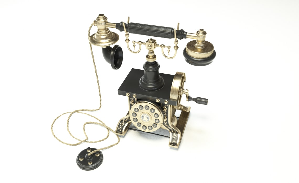 hight resolution of 3d telephone phone old