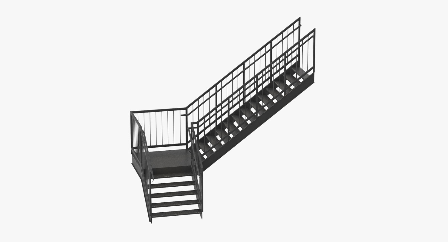 3d Model Exterior Staircases L Shape