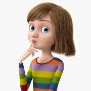 3d cartoon rigged girl model