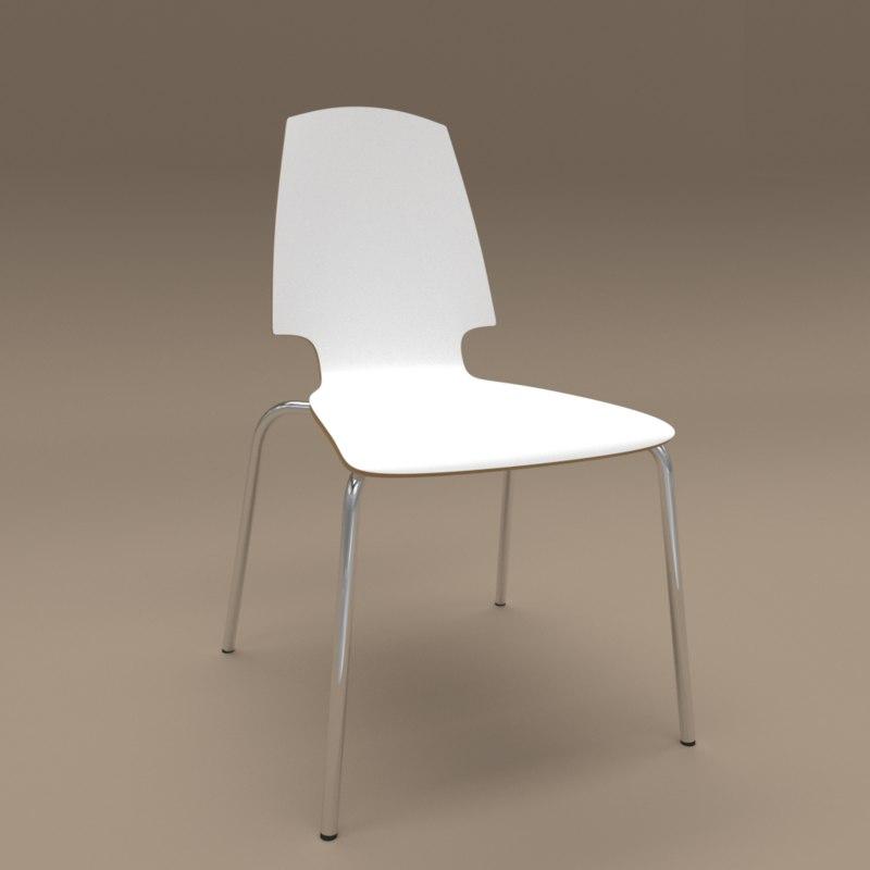white chair ikea rustic pine ladder back chairs vilmar 3d model turbosquid 1214355
