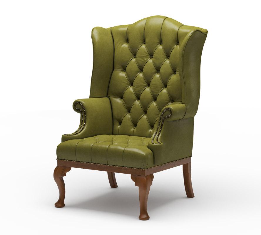 queen anne wing chair white rocking wooden legs 18th model turbosquid 1226770