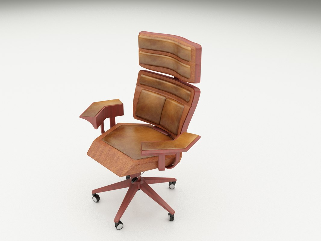 office chair 3d model wood and leather executive chairs turbosquid 1270902