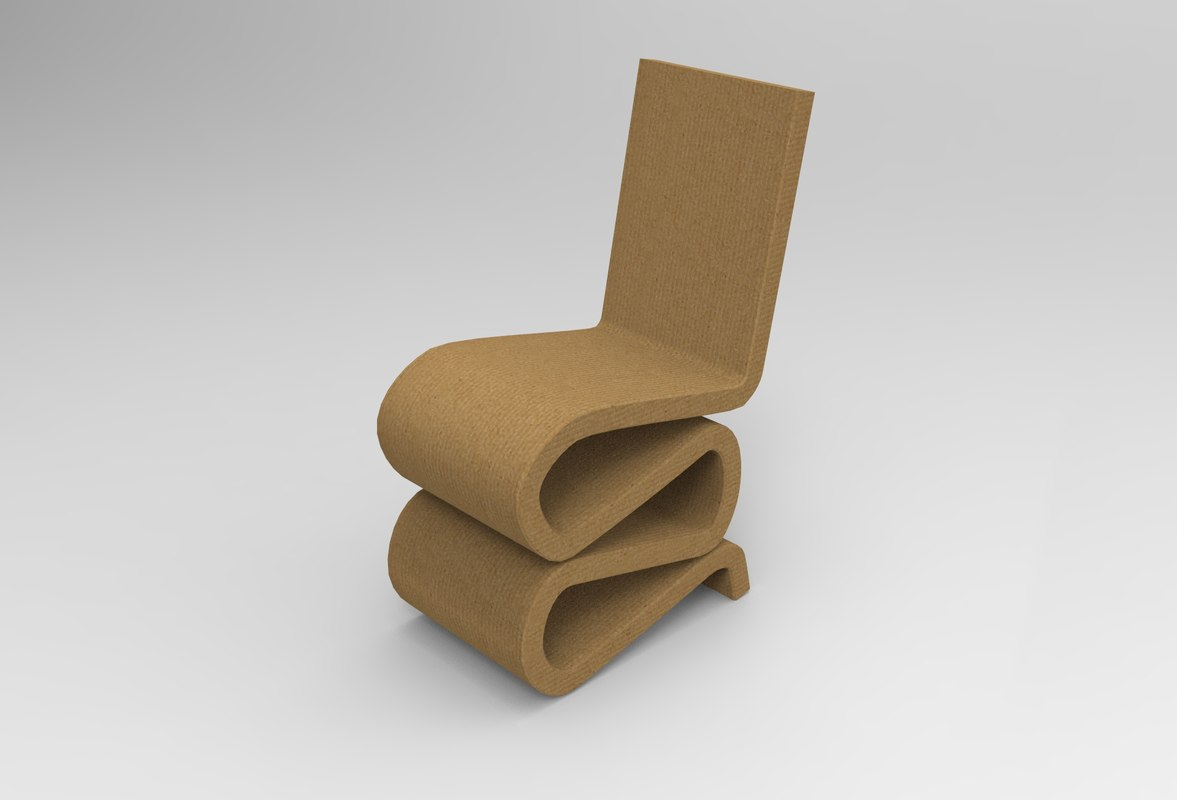 frank gehry cardboard chairs two seater gaming chair wiggle model turbosquid 1287332