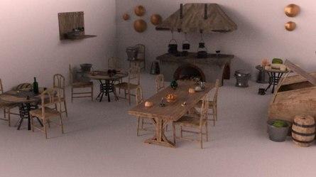 3D medieval kitchen ar vr model TurboSquid 1292319