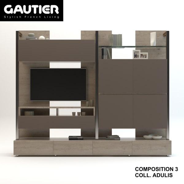modele 3d de meuble meuble tv collection gautier adulis composition 3 turbosquid 1313070