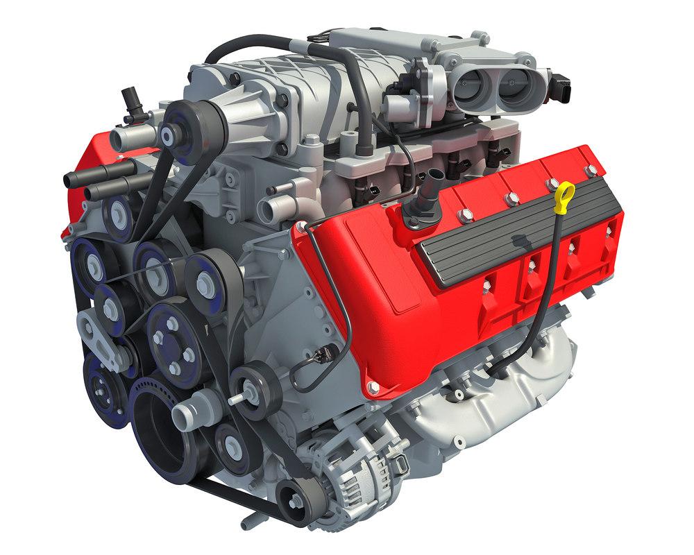 hight resolution of 3d model v8 car engine interior parts