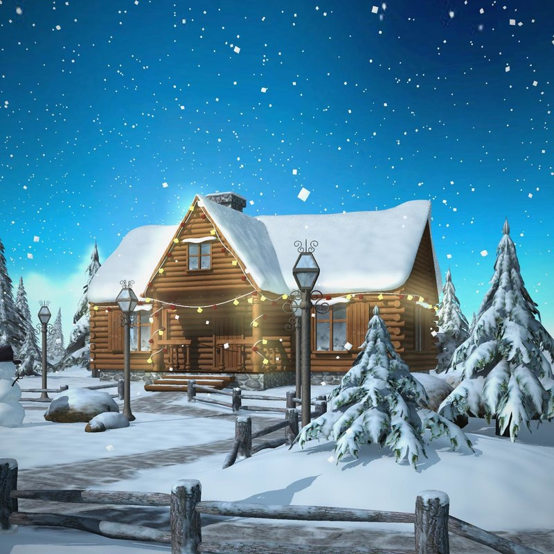 Snow Village 3d Live Wallpaper And Screensaver Winter Christmas Snow 3d Model