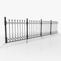 wrought iron fence 3d model