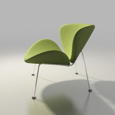 orange slice chair ergonomic ultrasound 3d artifort design model