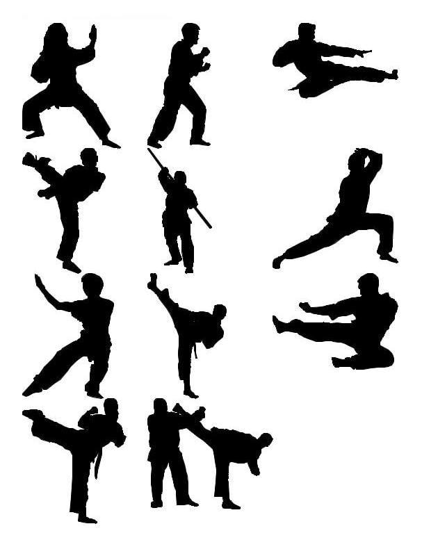 martial arts silhouettes 3d model