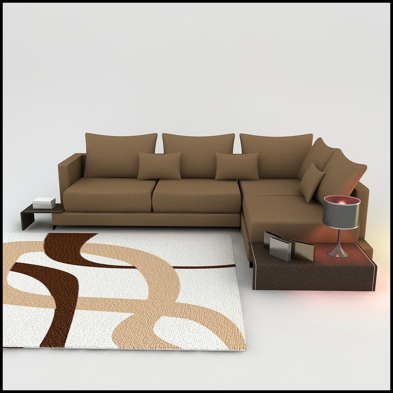 3d model of corner sofa designs