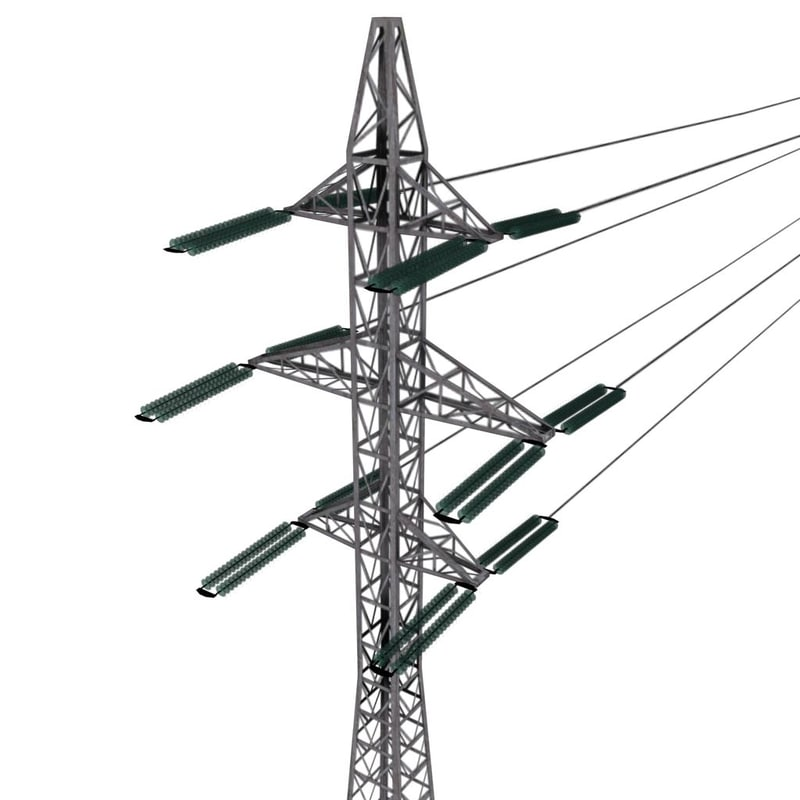 low-poly power line 3d max