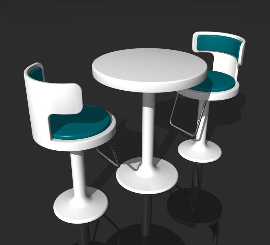 retro cafe table and chairs for heavy guys 3d model of bar