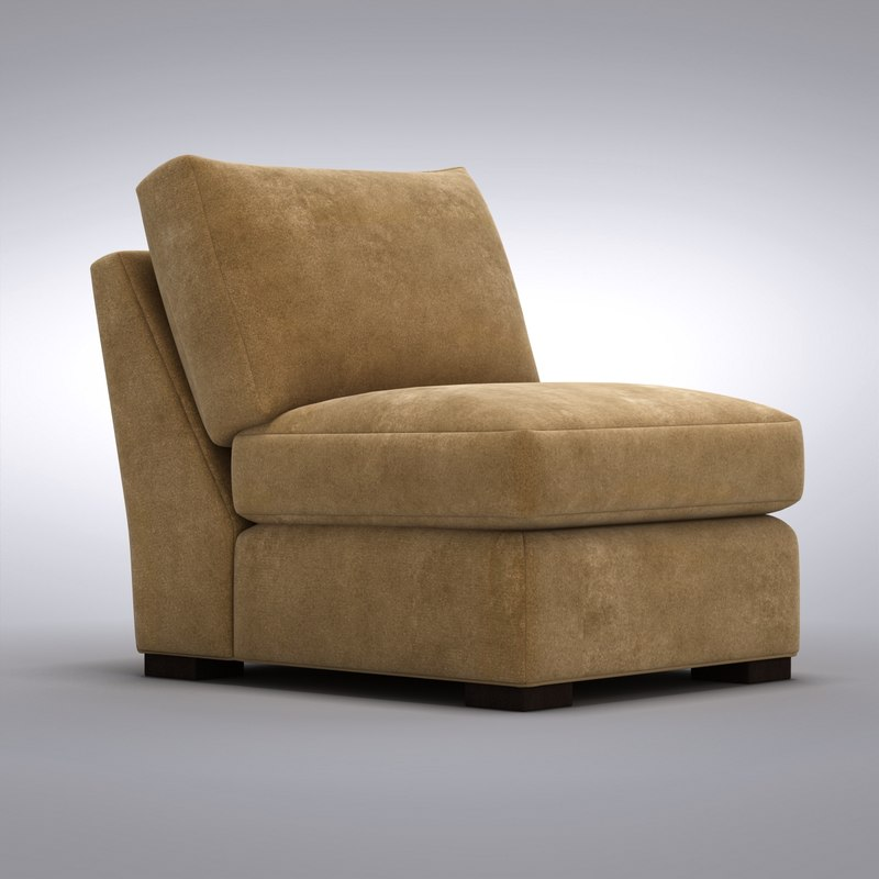 crate and barrel armless chair button tufted axis 3d max