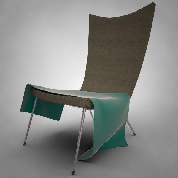 3d modern lounge reading chair