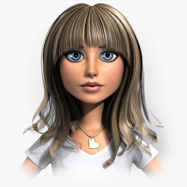 Young Woman Cartoon Character 3D Model