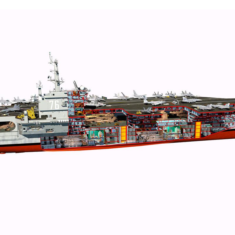 aircraft carrier diagram 2004 dodge ram fuse box uss reagan cutaway 3d obj