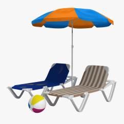 Beach Chairs And Umbrella Chair Design Sunbathing 3d Model