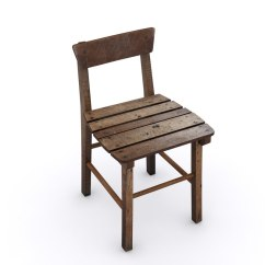 Old Wood Chairs Swivel Chair Small Wooden 3d Model