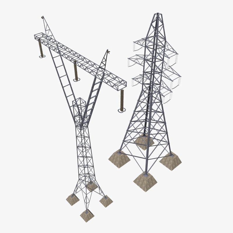 3d model power transmission towers