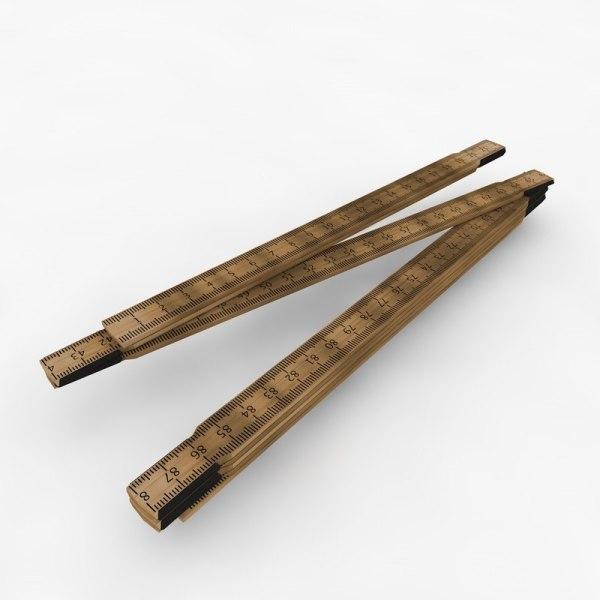 Folding Carpenter Ruler 3d X